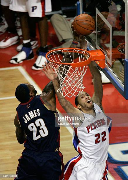 LeBron James of the Cleveland Cavaliers blocks a shot attempt by Tayshaun Prince of the Detroit Pistons in Game One of the Eastern Conference Finals...