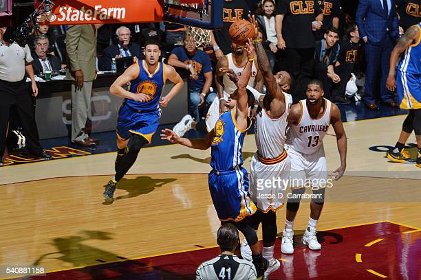 LeBron James of the Cleveland Cavaliers blocks the shot of Stephen Curry of the Golden State Warriors in Game Six of the 2016 NBA Finals on June 16...
