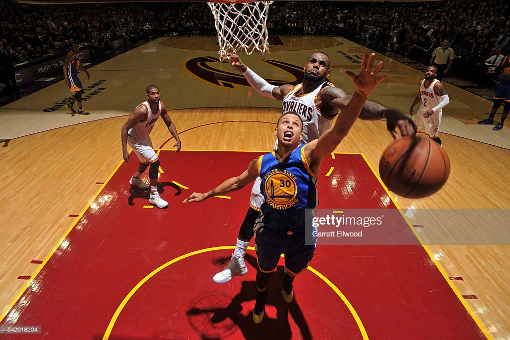 LeBron James #23 of the Cleveland Cavaliers blocks the shot of Stephen Curry #30 of the Golden State Warriors during Game Six of the 2016 NBA Finals on June 16, 2016 at Quicken Loans Arena in Cleveland, Ohio.