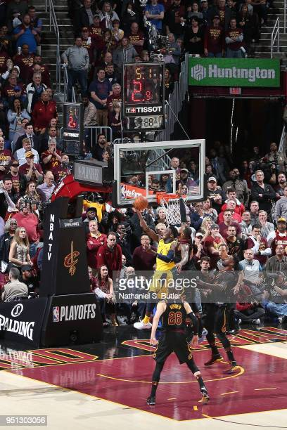 LeBron James of the Cleveland Cavaliers blocks the shot of Victor Oladipo of the Indiana Pacers in Game Five of Round One of the 2018 NBA Playoffs on...