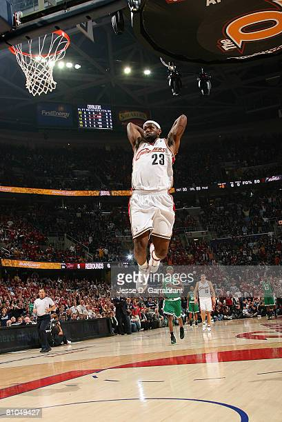 LeBron James of the Cleveland Cavaliers breaks away for an uncontested dunk against the Boston Celtics in Game Three of the 2008 NBA Eastern...
