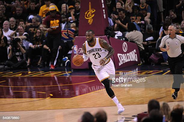 LeBron James of the Cleveland Cavaliers brings the ball up court against the Golden State Warriors in Game Six of the 2016 NBA Finals on June 16 2016...