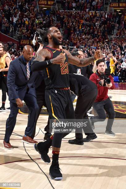 LeBron James of the Cleveland Cavaliers celebrates a win after the game against the Indiana Pacers in Game Five of Round One of the 2018 NBA Playoffs...