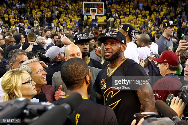 LeBron James of the Cleveland Cavaliers celebrates after defeating the Golden  State Warriors 9389 in Game a8cd0a3f5