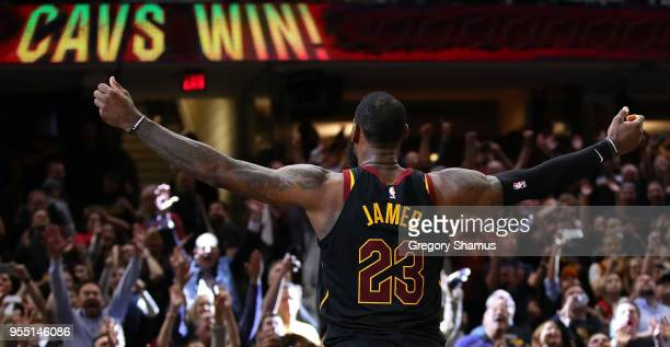 LeBron James of the Cleveland Cavaliers celebrates after hitting the game winning shot to beat the Toronto Raptors 105103 in Game Three of the...