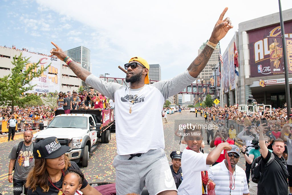 LeBron James #23 of the Cleveland Cavaliers celebrates during the Cleveland Cavaliers 2016 championship victory parade and rally on June 22, 2016 in Cleveland, Ohio.