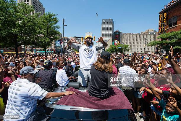 LeBron James of the Cleveland Cavaliers celebrates in downtown Cleveland during the Cleveland Cavaliers 2016 championship victory parade and rally on...