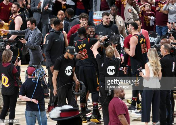 LeBron James of the Cleveland Cavaliers celebrates with Jeff Green after defeating the Indiana Pacers in Game Five of Round One of the 2018 NBA...