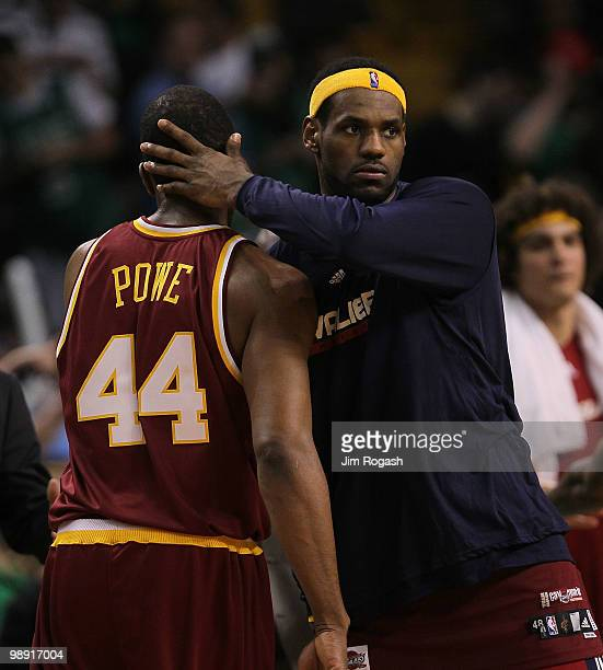 LeBron James of the Cleveland Cavaliers celebrates with teammate Leon Powe after defeating the Boston Celtics 12495 in Game Three of the Eastern...