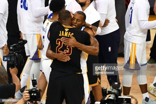 LeBron James of the Cleveland Cavaliers congratulates Andre Iguodala of the Golden State Warriors after the Warriors defeated the Cleveland Cavaliers...