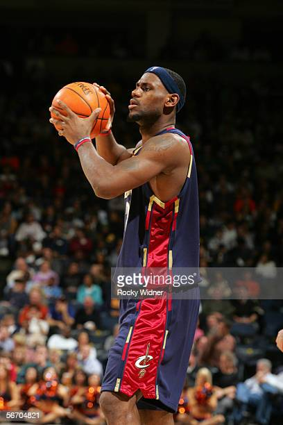 LeBron James of the Cleveland Cavaliers controls the ball against the Golden State Warriors during the game at the Arena in Oakland on January 20...