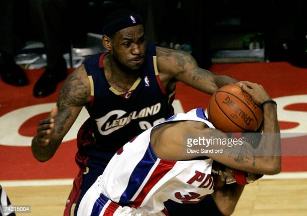 LeBron James of the Cleveland Cavaliers defends against Richard Hamilton of the Detroit Pistons in Game One of the Eastern Conference Finals during...