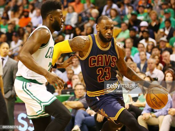 LeBron James of the Cleveland Cavaliers dribbles against Jaylen Brown of the Boston Celtics in the first half during Game Two of the 2017 NBA Eastern...