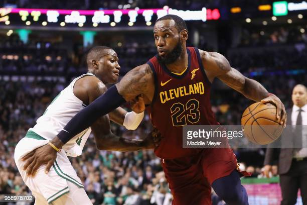 LeBron James of the Cleveland Cavaliers dribbles against Terry Rozier of the Boston Celtics in the first half during Game Two of the 2018 NBA Eastern...