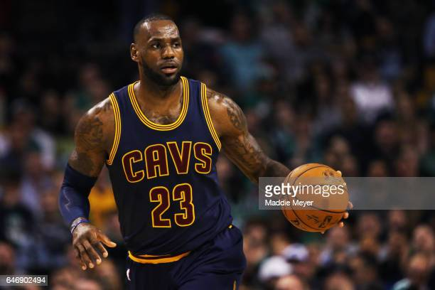 LeBron James of the Cleveland Cavaliers dribbles against the Boston Celtics during the first quarter at TD Garden on March 1 2017 in Boston...