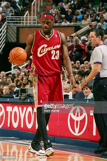 LeBron James of the Cleveland Cavaliers dribbles the ball against the Utah Jazz during their game on January 21 2006 at the Delta Center in Salt Lake...