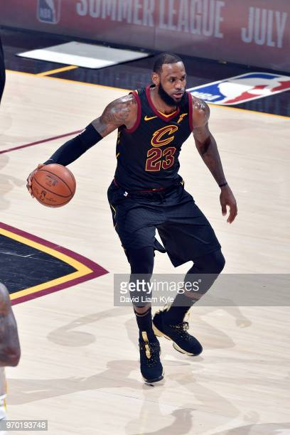 OH LeBron James of the Cleveland Cavaliers dribbles the ball during the game against the Golden State Warriors in Game Four of the 2018 NBA Finals on...