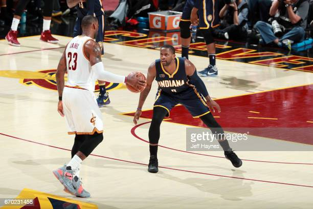 LeBron James of the Cleveland Cavaliers dribbles the ball while guarded by CJ Miles of the Indiana Pacers during Game Two the Eastern Conference...