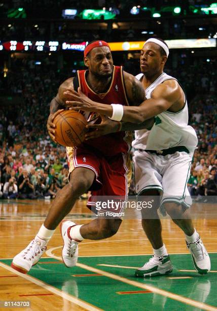 LeBron James of the Cleveland Cavaliers drives against Paul Pierce of the Boston Celtics in Game Seven of the Eastern Conference Semifinals during...