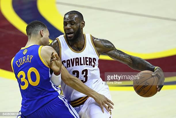 LeBron James of the Cleveland Cavaliers drives against Stephen Curry of the Golden State Warriors in the first half in Game 6 of the 2016 NBA Finals...