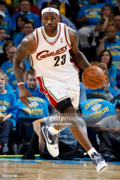 LeBron James of the Cleveland Cavaliers drives against the New Orleans Hornets on November 1, 2008 at the New Orleans Arena in New Orleans,...
