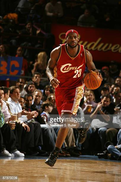 LeBron James of the Cleveland Cavaliers drives against the New York Knicks during the game at the Madison Square Garden on April 5, 2006 in New York,...