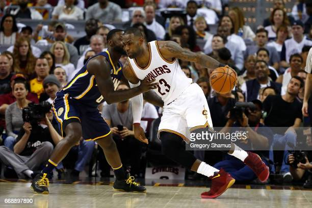 LeBron James of the Cleveland Cavaliers drives around Lance Stephenson of the Indiana Pacers during the first half in Game One of the Eastern...