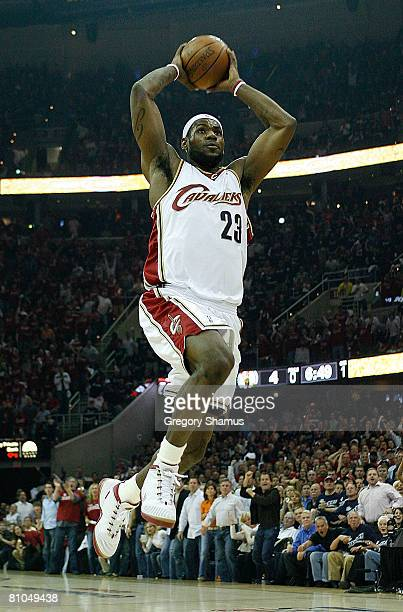 LeBron James of the Cleveland Cavaliers drives for an uncontested dunk in the first quarter against the Boston Celtics in Game Three of the 2008 NBA...