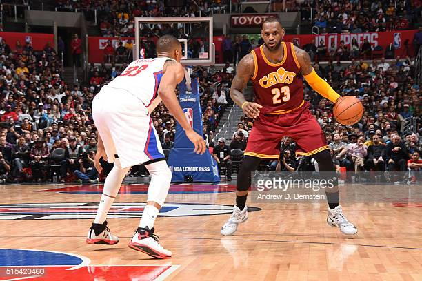 LeBron James of the Cleveland Cavaliers drives to the basket against the Los Angeles Clippers during the game on March 13 2016 at STAPLES Center in...