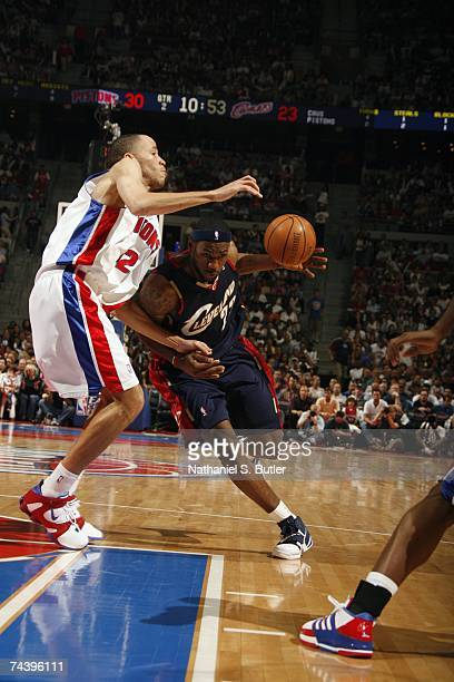 LeBron James of the Cleveland Cavaliers drives to the basket against Tayshaun Prince of the Detroit Pistons in Game Five of the Eastern Conference...
