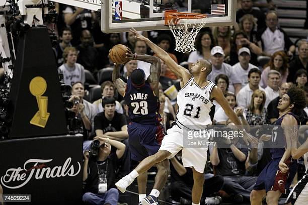 LeBron James of the Cleveland Cavaliers drives to the basket against Tim Duncan of the San Antonio Spurs during Game 2 of the 2007 NBA Finals on June...