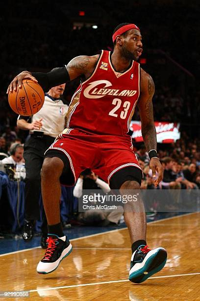 LeBron James of the Cleveland Cavaliers drives to the basket against the New York Knicks at Madison Square Garden November 6, 2009 in New York City....