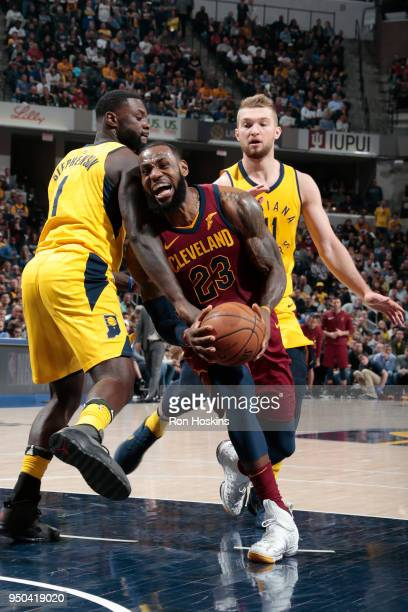 LeBron James of the Cleveland Cavaliers drives to the basket against the Indiana Pacers in Game Four of Round One of the 2018 NBA Playoffs on April...