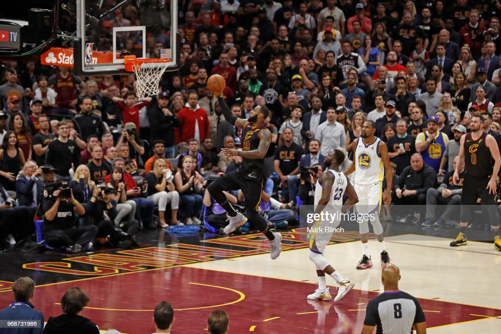 LeBron James #23 of the Cleveland Cavaliers drives to the basket against the Golden State Warriors in Game Three of the 2018 NBA Finals on June 6, 2018 at Quicken Loans Arena in Cleveland, Ohio.