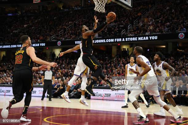 LeBron James of the Cleveland Cavaliers drives to the basket against the Golden State Warriors in the second half during Game Four of the 2018 NBA...