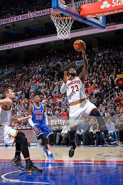 LeBron James of the Cleveland Cavaliers drives to the basket and scores to pass Hakeem Olajuwon for 10th on the alltime scoring list during the game...