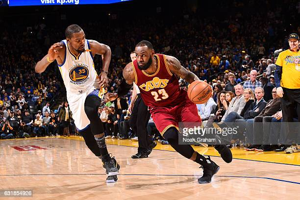 LeBron James of the Cleveland Cavaliers drives to the basket during the game against the Golden State Warriors on January 16 2017 at ORACLE Arena in...