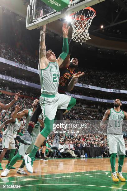 LeBron James of the Cleveland Cavaliers drives to the basket during the game against Daniel Theis of the Boston Celtics on February 11 2018 at TD...