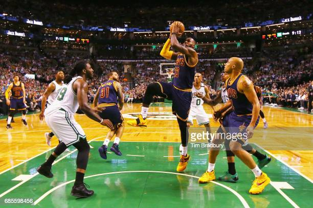LeBron James of the Cleveland Cavaliers drives to the basket in the first half against the Boston Celtics during Game Two of the 2017 NBA Eastern...
