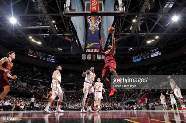 LeBron James of the Cleveland Cavaliers dunks against the Atlanta Hawks on December 12 2017 at Quicken Loans Arena in Cleveland Ohio NOTE TO USER...