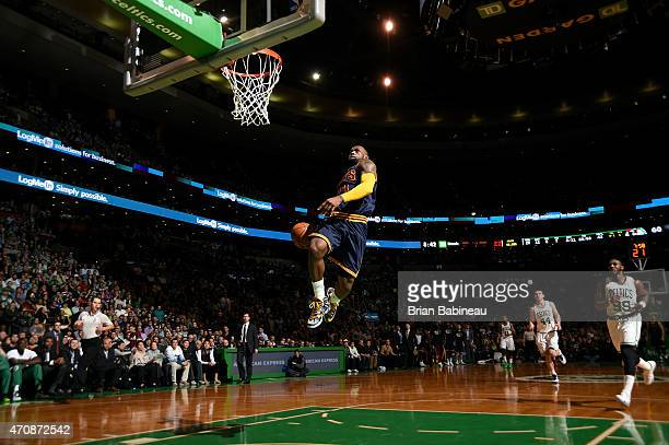 LeBron James of the Cleveland Cavaliers dunks against the Boston Celtics in Game Three of the Eastern Conference Quarterfinals during the 2015 NBA...