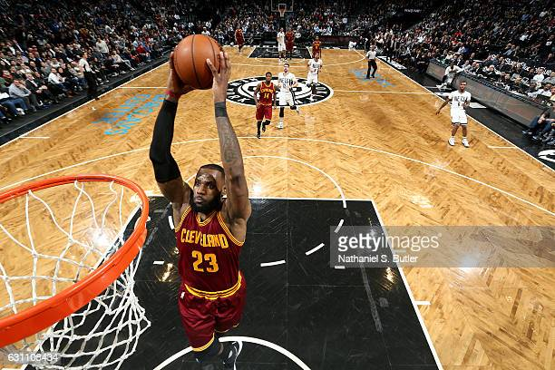 LeBron James of the Cleveland Cavaliers dunks against the Brooklyn Nets on January 6 2017 at Barclays Center in Brooklyn New York NOTE TO USER User...