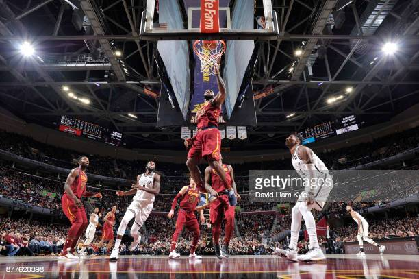 LeBron James of the Cleveland Cavaliers dunks against the Brooklyn Nets on November 22 2017 at Quicken Loans Arena in Cleveland Ohio NOTE TO USER...