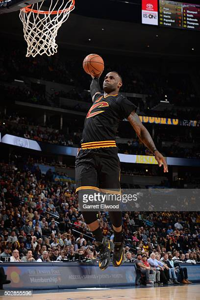 LeBron James of the Cleveland Cavaliers dunks against the Denver Nuggets during the game on December 29 2015 at Pepsi Center in Denver Colorado NOTE...