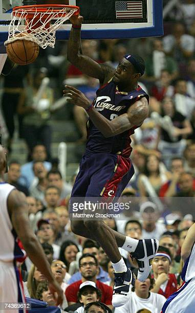 LeBron James of the Cleveland Cavaliers dunks against the Detroit Pistons in Game Five of the Eastern Conference Finals during the 2007 NBA Playoffs...
