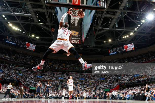 LeBron James of the Cleveland Cavaliers dunks against the Indiana Pacers during Game Two the Eastern Conference Quarterfinals of the 2017 NBA...