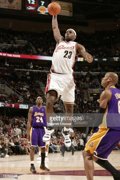 LeBron James of the Cleveland Cavaliers dunks against the Los Angeles Lakers at the Quicken Loans Arena February 11 2007 in Cleveland Ohio NOTE TO...