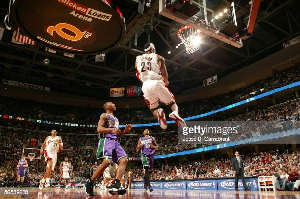LeBron James of the Cleveland Cavaliers dunks against the Milwaukee Bucks at the Quicken Loans Arena on January 7 2006 in Cleveland Ohio NOTE TO USER...