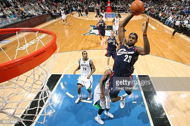 LeBron James of the Cleveland Cavaliers dunks against the Minnesota Timberwolves during the game on October 30 2009 at the Target Center in...