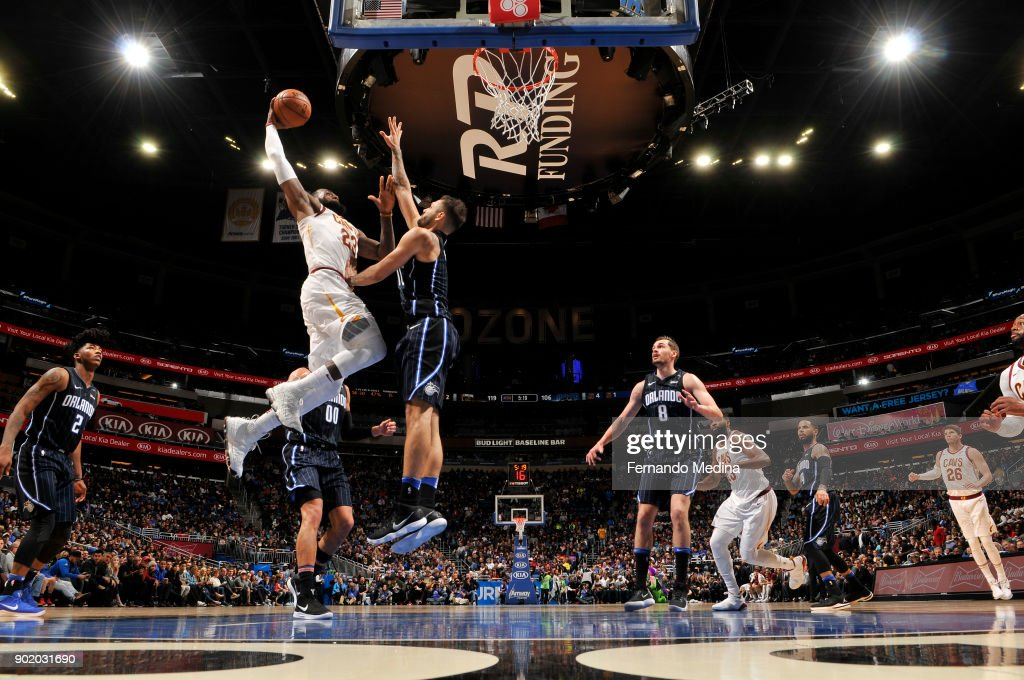 LeBron James #23 of the Cleveland Cavaliers dunks against the Orlando Magic on January 6, 2018 at Amway Center in Orlando, Florida.